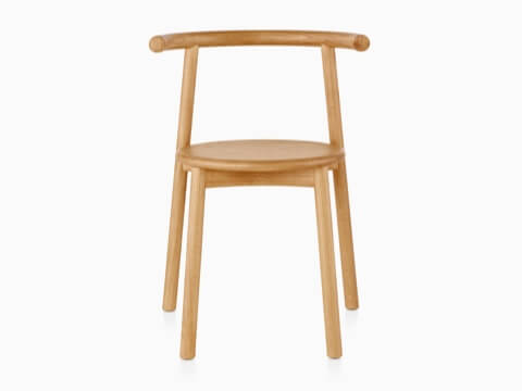 Wood Mattiazzi Solo side chair with a light finish, viewed from the front.