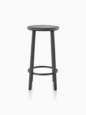 Mattiazzi Solo Stool with a black seat, legs, and footrest.