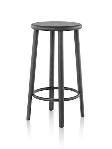 Mattiazzi Solo Stool with a black seat, legs, and footrest, viewed from an angle.