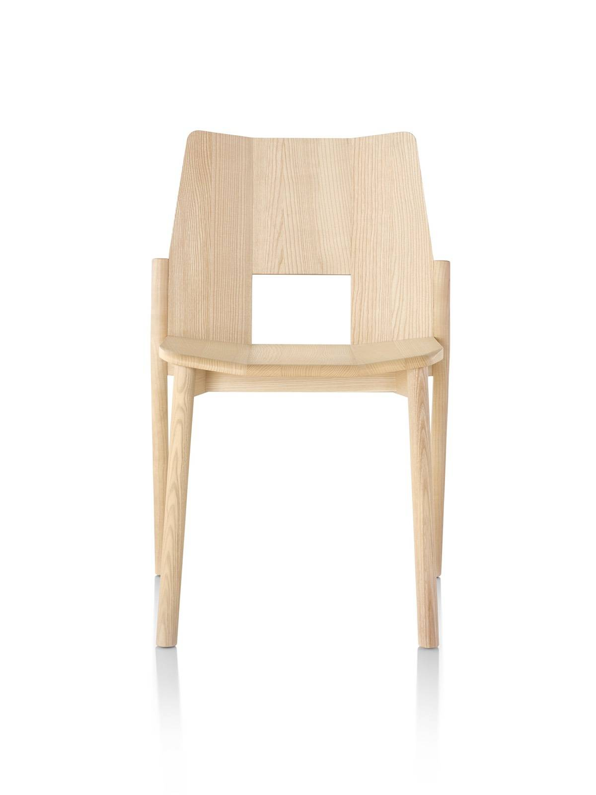 Wood Mattiazzi Tronco stackable side chair, viewed from the front.