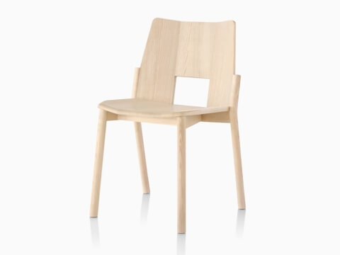 Wood Mattiazzi Tronco stackable side chair, viewed from a 45-degree angle.