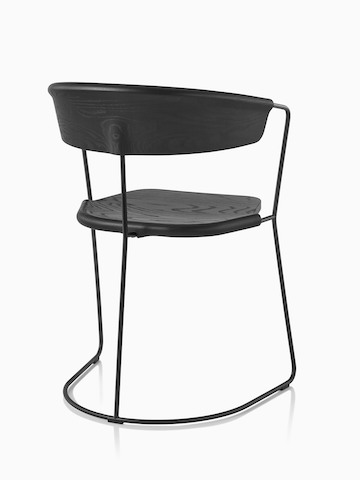Black Mattiazzi Uncino Chair, Version C , viewed from the back at an angle.