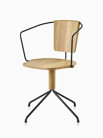 Mattiazzi Uncino Chair, Version B with black frame and natural ash seat and back, viewed from the front at an angle.