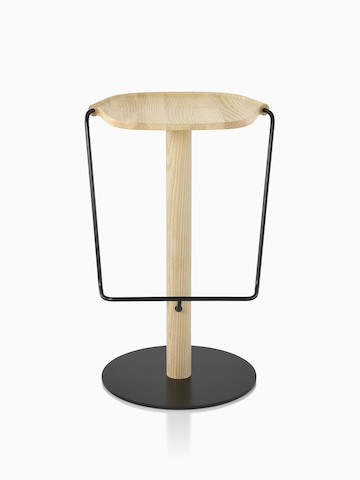 Mattiazzi Uncino Stool with black frame and natural ash seat, viewed from the front.