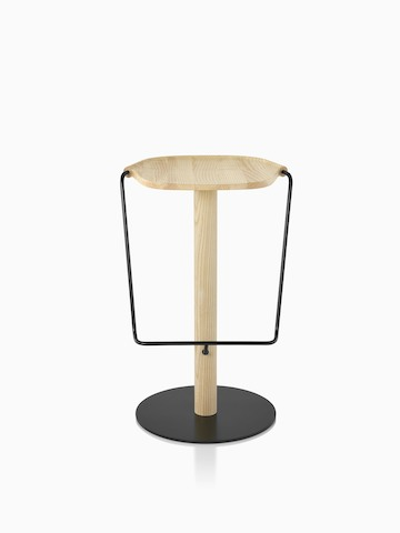 Mattiazzi Uncino Stool with black frame and natural ash seat.
