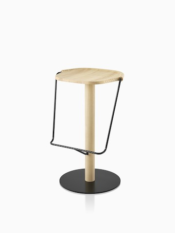 Mattiazzi Uncino Stool with black frame and natural ash seat. Select to go to the Uncino Stool product page.