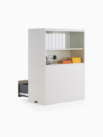 Stackable Meridian storage modules with lateral files facing one way and open shelves facing the other.