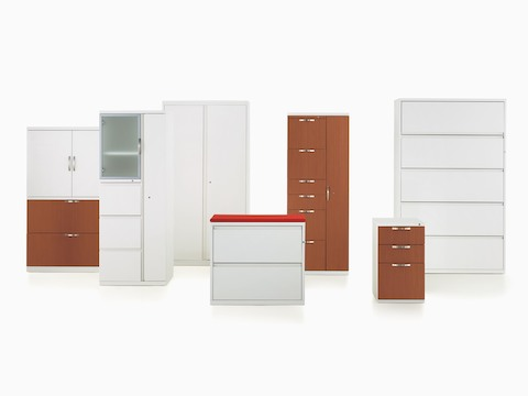 A display of seven Meridian storage units in various configurations and finishes.