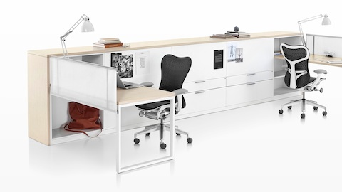 Meridian storage units create a boundary for two open workstations.
