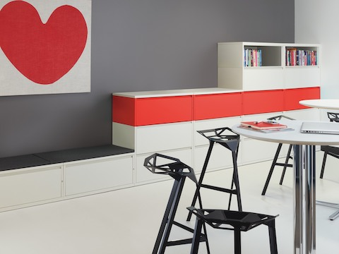 Meridian lateral files with contrasting red and white modules.