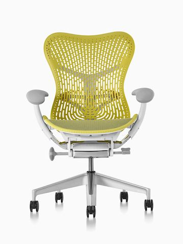 Lime green Mirra 2 office chair, viewed from the front.
