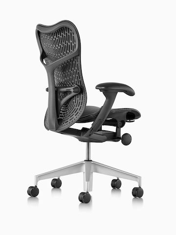 Three-quarter view of a black Mirra 2 office chair, showing the back and side.