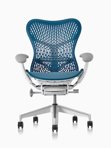Gray Mirra 2 office chair, viewed from a 45-degree angle and showing ergonomic controls.