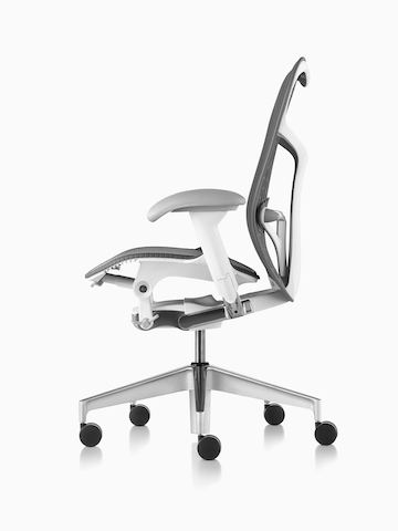 Three-quarter view of a gray Mirra 2 office chair, showing the back and side.