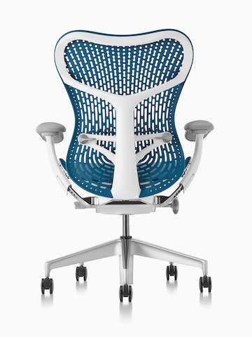 Rear view of a blue Mirra 2 office chair, showing back support.