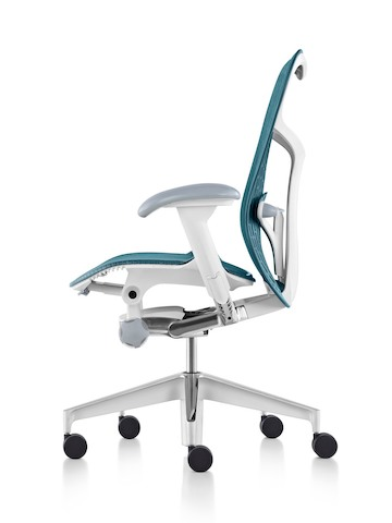 Profile view of a blue Mirra 2 office chair, showing flexible seat and back support.
