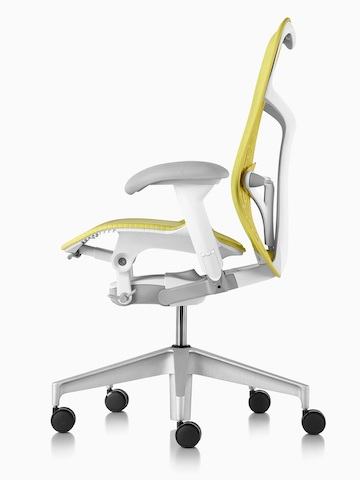Lime green Mirra 2 office chair, viewed from the side.