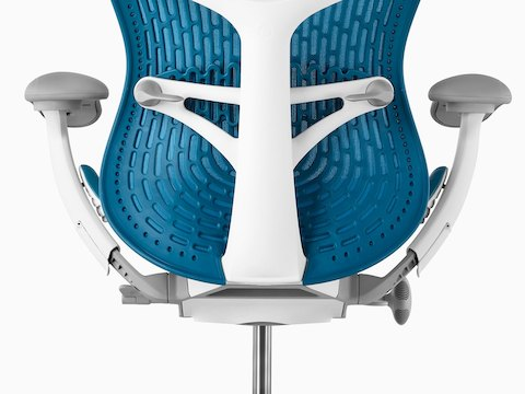 Lower back view of blue Mirra 2 office chair.