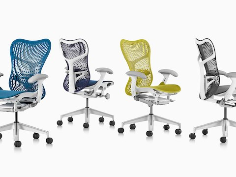 Mirra 2 office chairs in four colors: blue, navy blue, yellow and gray.