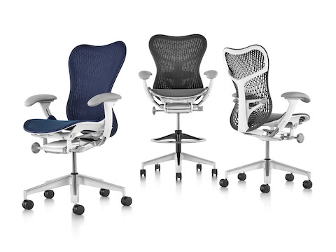 Blue Mirra 2 Chair with Butterfly Back, black Mirra 2 Stool with Butterfly Back, gray Mirra 2 Chair with TriFlex Back.