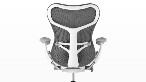 Rear view of gray Mirra 2 office chair, showing back support and adjustable arms.