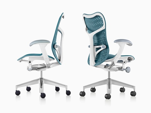 Profile and oblique views of two blue Mirra 2 office chairs.