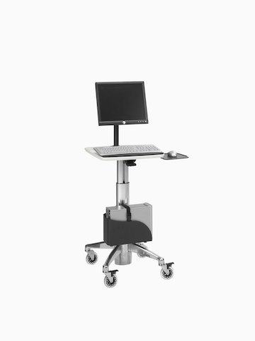 A mobile technology cart for healthcare settings.