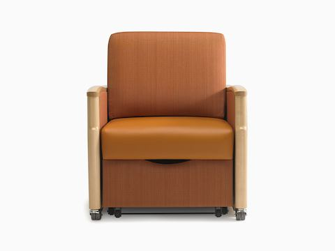 An orange Monarch Sleep Chair with wood arm caps, viewed from the front.