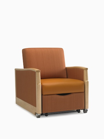 A burnt-orange Monarch Sleep Chair. Select to go to the Monarch Sleep Chair and Settee product page.