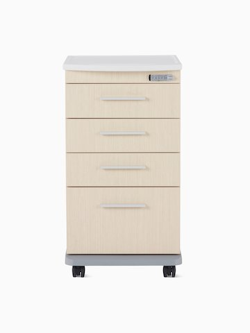 A Mora casework four-drawer supply cart in a light ash finish with a white solid surface top.