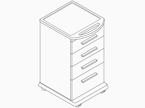 A line drawing of a Mora System supply cart.