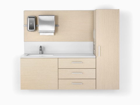 Wall-mounted clinical casework from the Mora System, including drawers and a sink with backsplash.