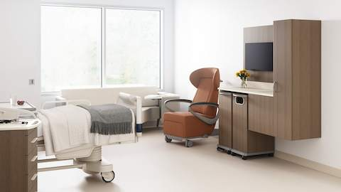 Wall-mounted Mora System casework in a healthcare lounge.