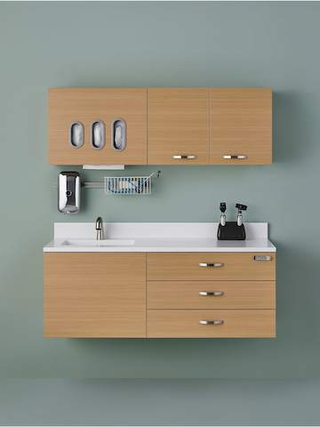Wall-mounted Mora System casework provides storage, facilitates interaction, and supports technology in a clinical setting.