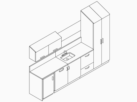 A line drawing of Mora System casework with an integrated sink and upper storage.