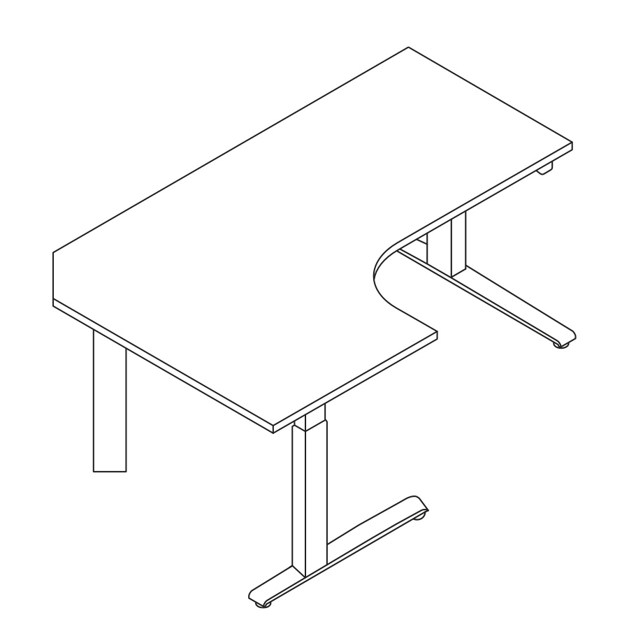 A line drawing of a 90-degree extended corner Motia Sit-to-Stand Table.