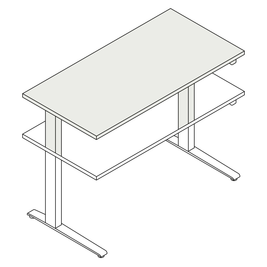 A line drawing of the standing desk, Motia Sit-to-Stand Table, extended to its maximum height range.