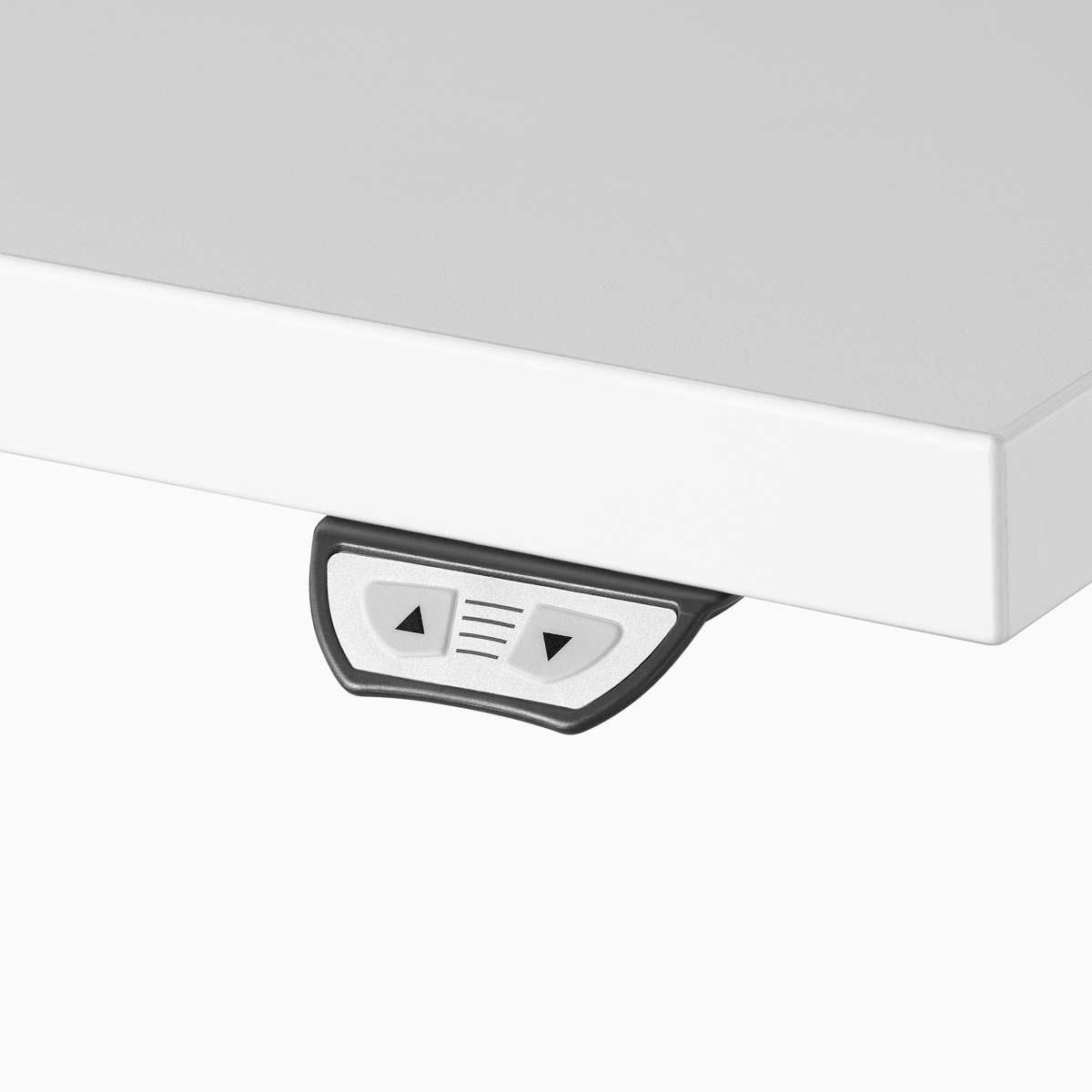 Close-up of the simple touch switch attached to a work surface.