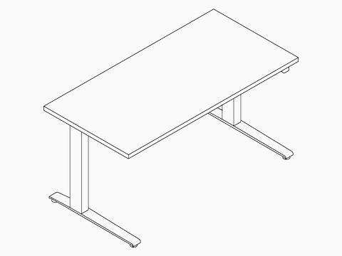 A line drawing of a rectangular Motia Sit-to-Stand Table.
