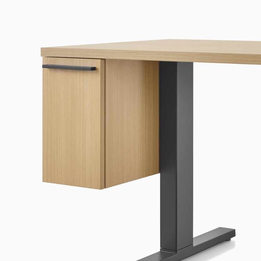 Wood Canvas Vista rectangular work surface with suspended cubby drawer and black t-shaped leg.