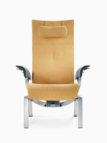 A mustard-coloured Nala Patient Chair, viewed from the front.