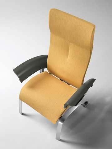 Overhead view of a mustard-coloured Nala Patient Chair.