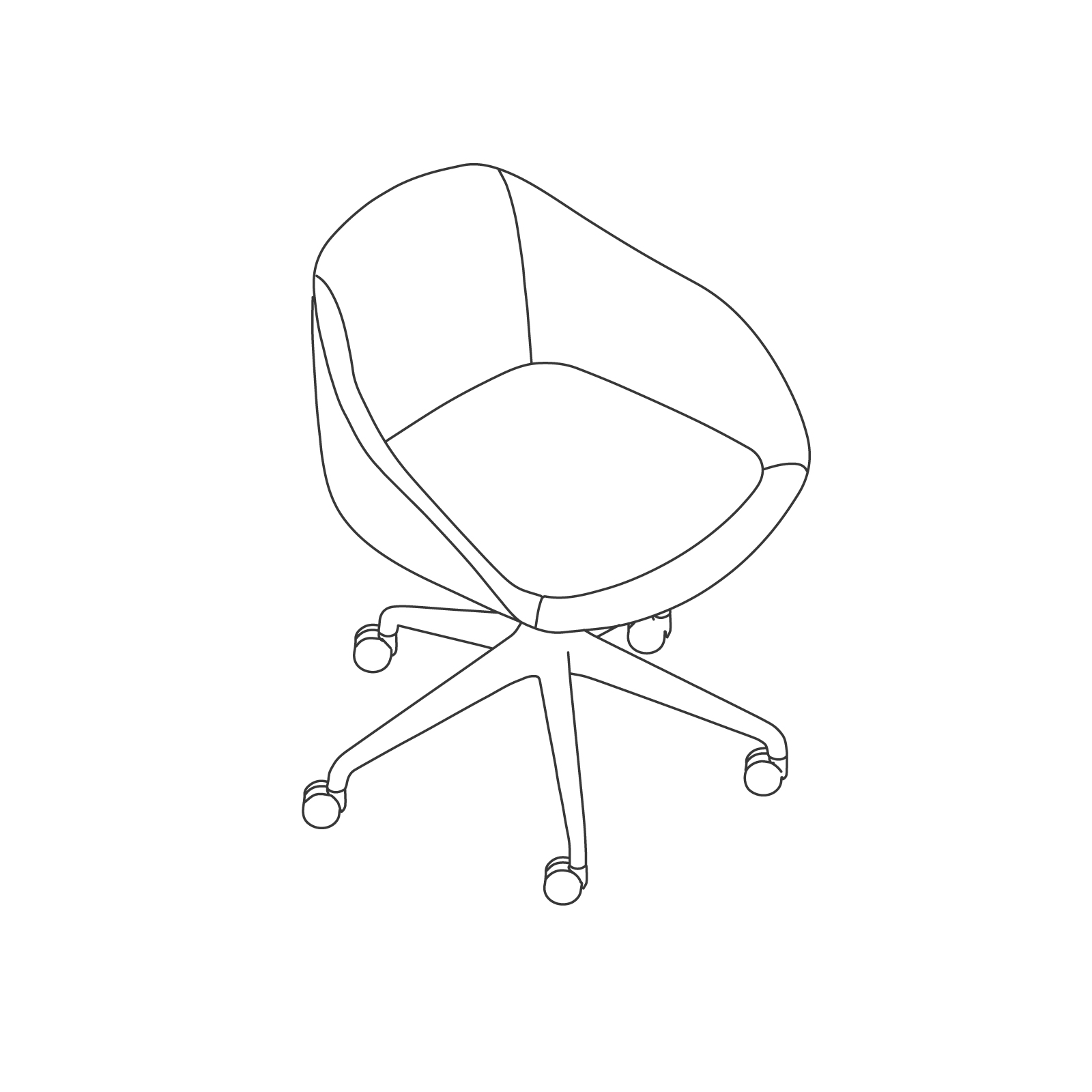 A line drawing of Always Chair–5-Star Caster Base.