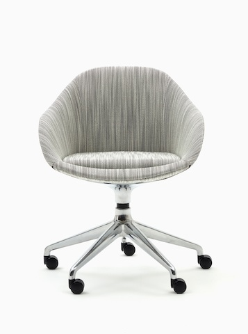 A front view of a naughtone Always Chair with a polished 5-star caster base and patterned gray upholstery.