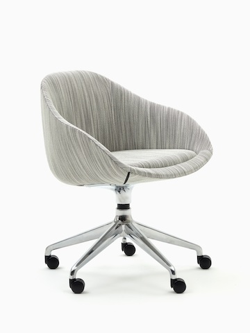 A naughtone Always Chair with a polished 5-star caster base and patterned gray upholstery, viewed at an angle.