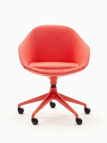 A red naughtone Always Chair with matching 5-star caster base, viewed from the front.