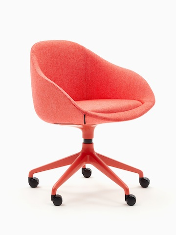 A red naughtone Always Chair with matching 5-star caster base, viewed at an angle.