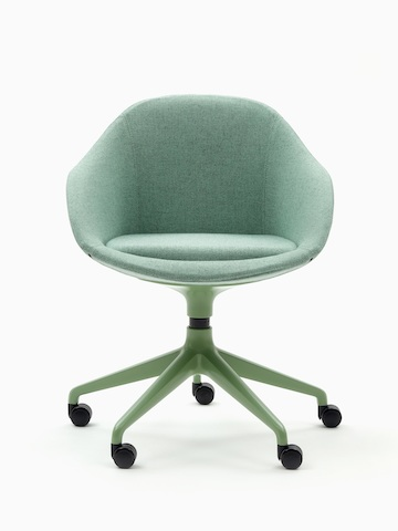 A green naughtone Always Chair with coordinating 5-star caster base, viewed from the front.