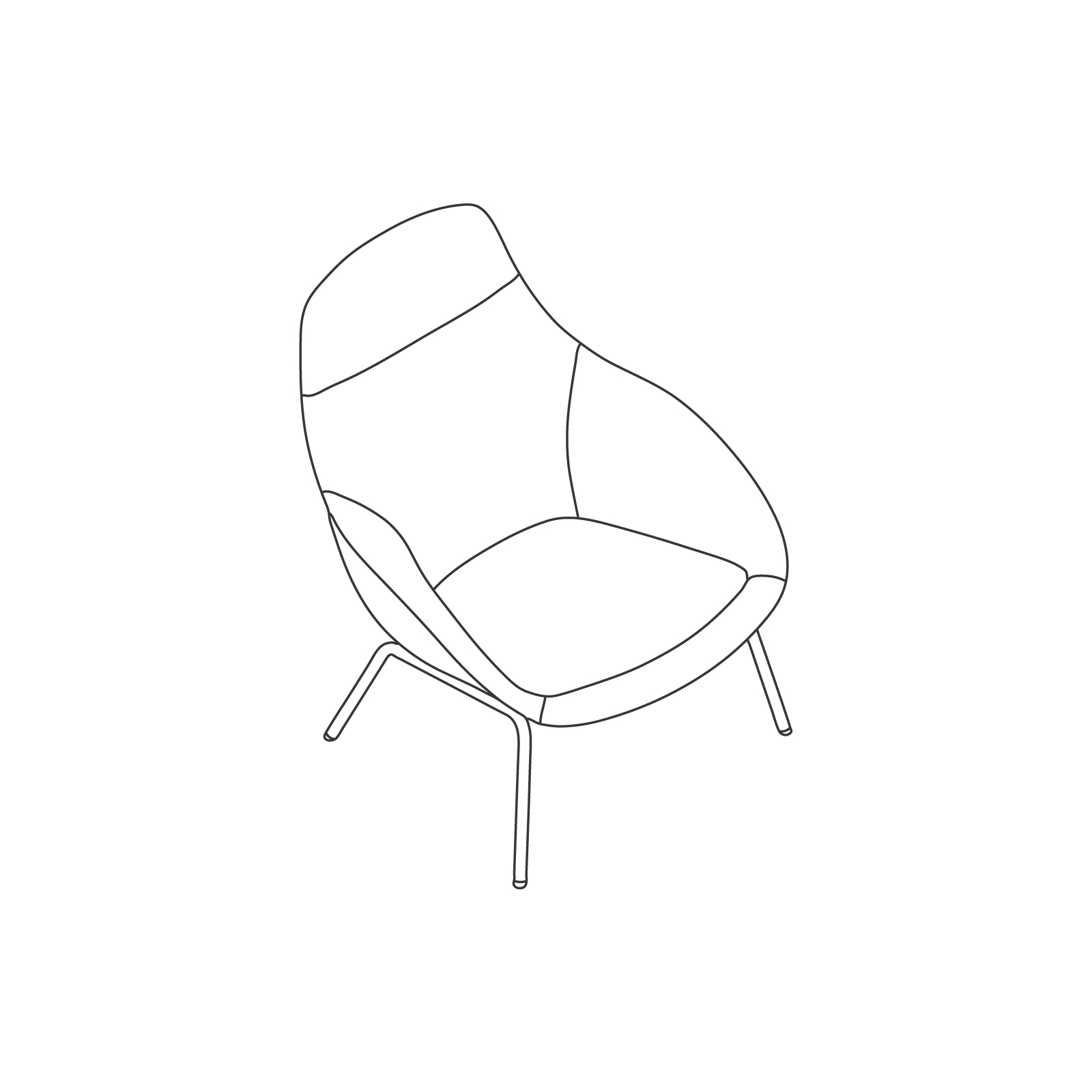 A line drawing of Always Lounge Chair–4-Leg Base.