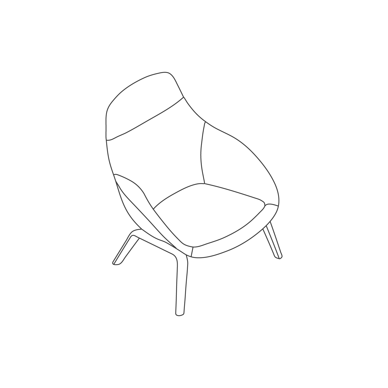 A line drawing - Always Lounge Chair–Wood Base